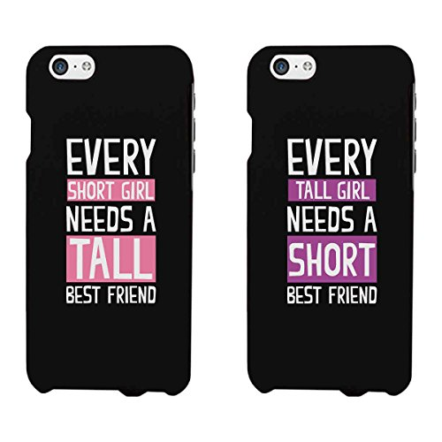 365 Printing Every Short Girl and Tall Girl Black Matching Best Friends Phone Cases Christmas Gift for BFF