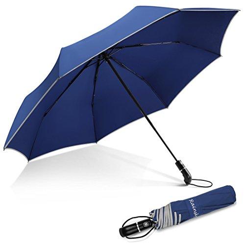 Nesus Travel Umbrella, 8 Ribs Large Auto Open Close Compact Folding Windproof Umbrella(Blue) Blue Open Umbrella