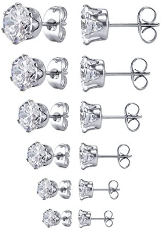 Jstyle Jewelry Women's Stainless Steel Round Clear Cubic Zirconia Stud Earring (6 Pairs)