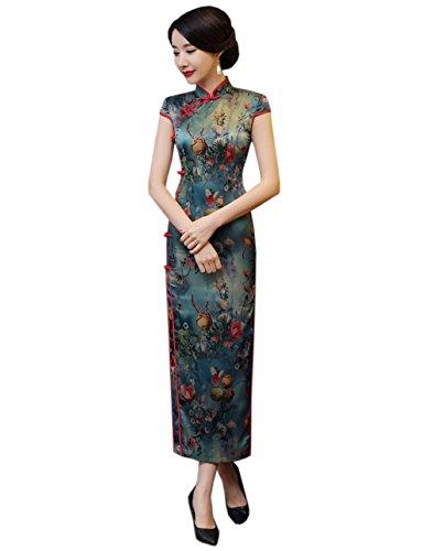 Klassische Schlitz Lang ACVIP Rote Etuikleid Chinesische Kante mit Retro Damen X7wX4HqnYC