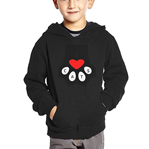 Joapron Cats Paw Kids Long Sleeve Pocket Pullover Hooded Sweatshirt Black Size 5-6 Toddler