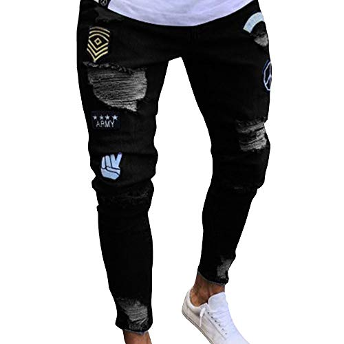 Skinny Jeans Shoes - Men's Distressed Slim Denim Pants Hip Hop Ripped Holes Patch Work Skinny Jeans