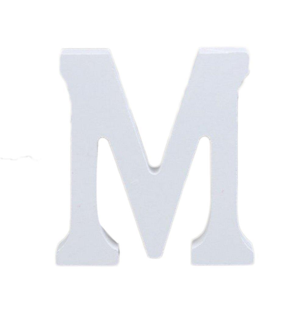 Fablcrew Mode Holz Deko Buchstaben Holz Buchstabe M Initial Deko für Hochzeit Party Geburtstag Weiß 8cm