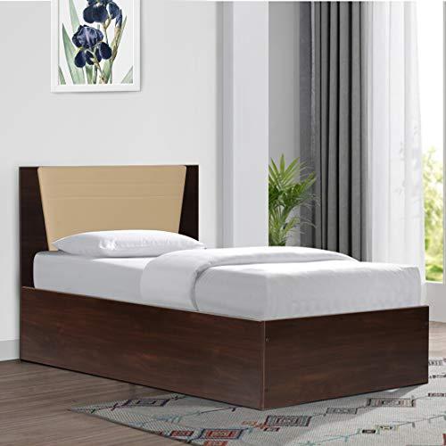 Trevi Single Engineered Wood Platform Bed with Storage   Matte Finish_Brown