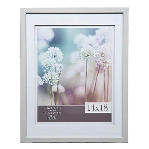 Gallery Solutions 14x18 Light Grey Wood Wall Frame with Double White Mat For 11x14 Image ()