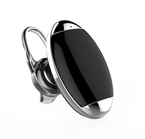 Modogirl Silver Fashion Mini Voice-Activated Bluetooth 4.0 Headset Wireless Stereo Motion-Ear Headphones with Microphone for Smart Cellphone
