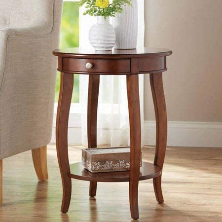 Round Accent Side Table Table with Drawer Storage in Walnut