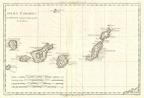 Tenerife Cartina Spagna.Isole Canaries Isole Canarie Spagna Tenerife Lanzarote C Bonne 1790 Antica Mappa Vintage Mappe Stampate Della Spagna Amazon It Casa E Cucina