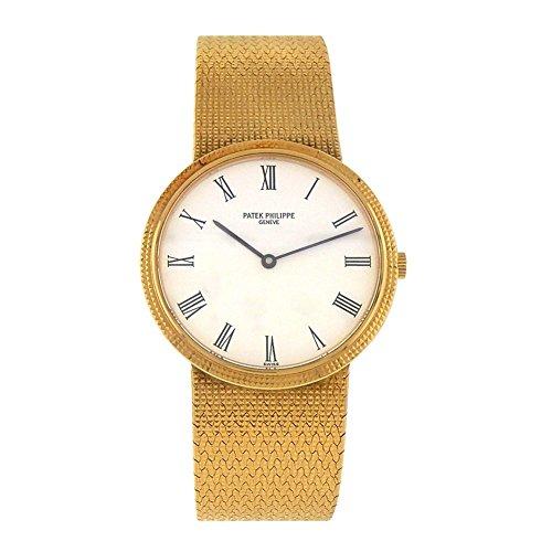 Patek Philippe Calatrava analog-quartz mens Watch 3954 (Certified Pre-owned) (Patek Philippe Gold Dial)
