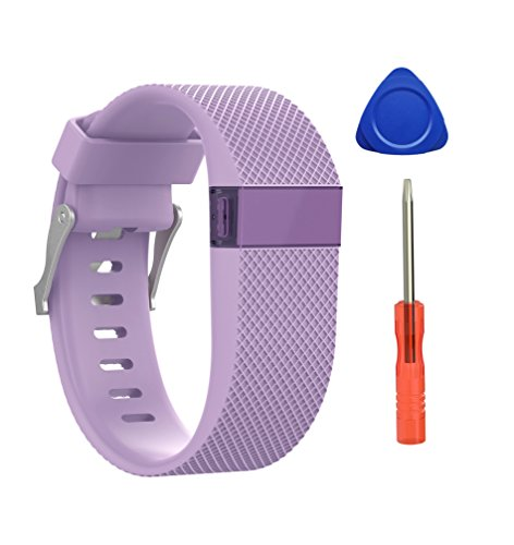 Newest Fitbit Charge Hr Band  Benestellar Silicone Replacement Small Large Band Bracelet Strap For Fitbit Charge Hr Wireless Activity Wristband  Lavender 1 Pack  Large 6 2  7 6
