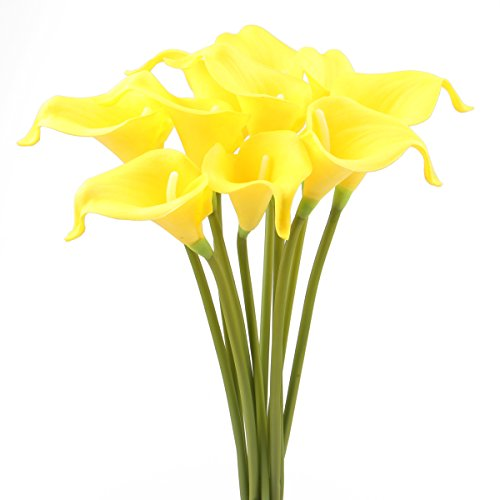 Leagel Calla Lily Bridal Wedding Bouquet Head Lataex Real Touch Flower Bouquets (10, Pure Yellow)