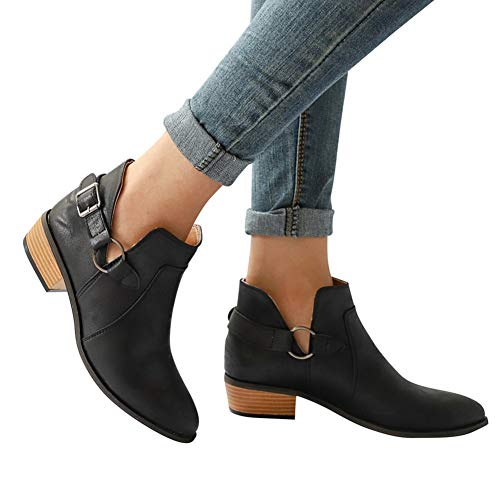Women's Ankle Boots Easy Slip On/Off Chunky Low Heel Ankle Bootie V-Cut Back Zipper Boots Buckle Strap by Lowprofile Black