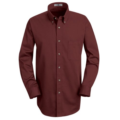 Lee Men's Meridian Performance Twill Shirt Burgundy 5.0oz Long (Performance Long Sleeve Twill Shirt)