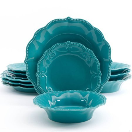 The Pioneer Woman Paige 12-piece Crackle Glaze Dinnerware Set, Turquoise