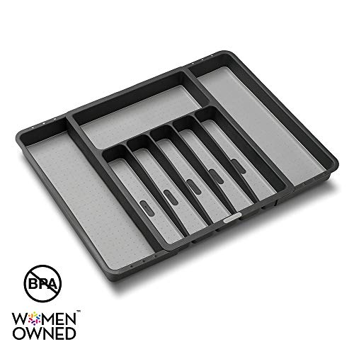 madesmart Expandable Silverware Tray - Granite | CLASSIC COLLECTION | 8-Compartments | Kitchen Organizer | Soft-Grip Lining | Easy to Clean | BPA-Free