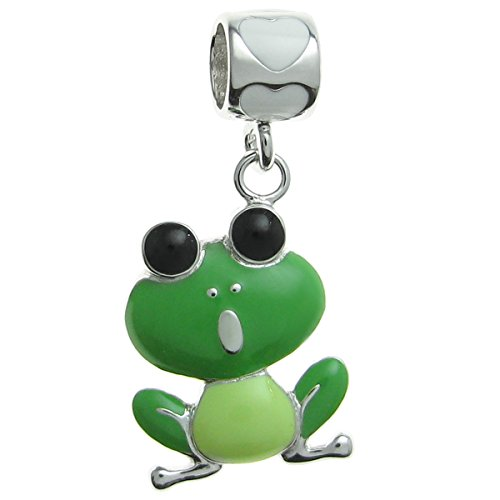 Queenberry Rhodium-Plated Sterling Silver Lovely Green Frog Enamel European Style Dangle Bead Charm