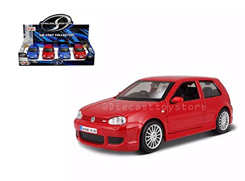 NEW DIECAST TOYS CAR MAISTO 1:24 DISPLAY SPECIAL EDITION VOLKSWAGEN GOLF R32 SET OF 2 BLUE RED 34290 WIHTOUT RETAIL BOX