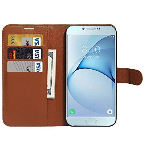 Fashion & personality Para la galaxia A8 (2016) / A810 Lichí de la textura de Samsung flotan la caja de cuero de la PU del tirón con el sostenedor y las ranuras para tarjeta y la carpeta ( Color : Bla Brown
