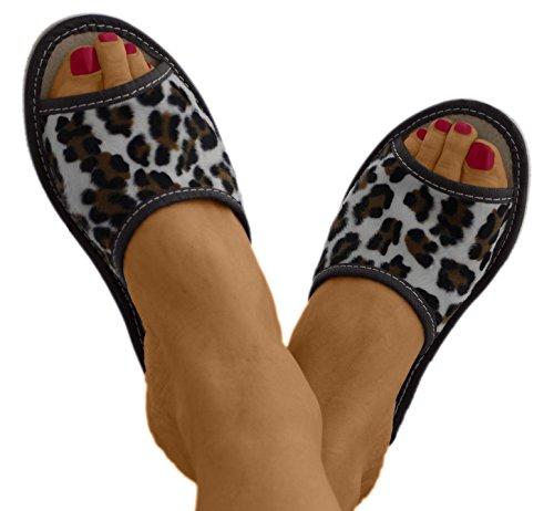 Natural Line - Zapatillas de estar por casa de Piel para mujer negro (Panther)
