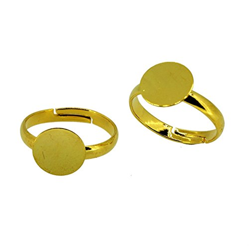 WEIYI 12 Pcs DIY Adjustable Ring Base for Jewelry Making(Golden) (Gold Ring Base)