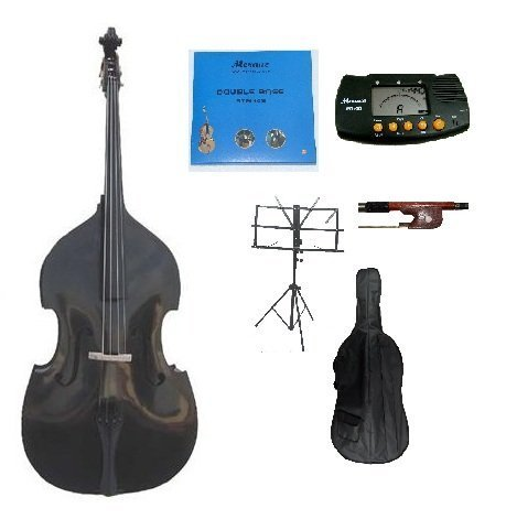 Merano B00CD5ULG8 GRACE 3/4 Size Black Upright Double Bass Bag, Bow, Bridge with 2 Sets Strings by Merano