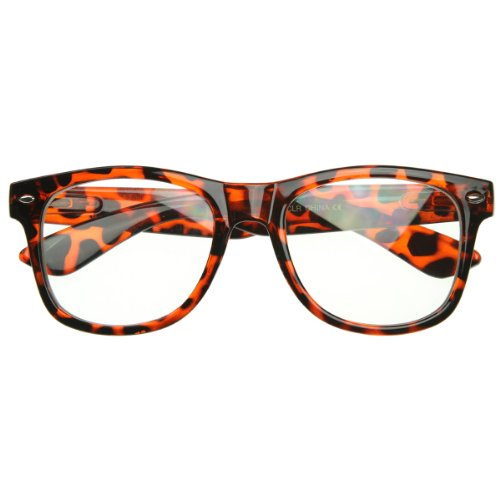 zeroUV - Standard Retro Clear Lens Nerd Geek Assorted Color Horn Rimmed Glasses (Tortoise - Tortoise Brown Glasses Shell