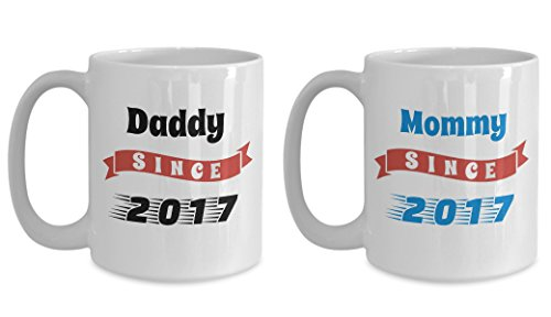 Mom And Dad Coffee Mug Set - Mommy Daddy Since 2017 - White Ceramic 15oz Tea Mugs - Worlds Best Mom Ever Gift For Mother's Day, Birthday From Son, -