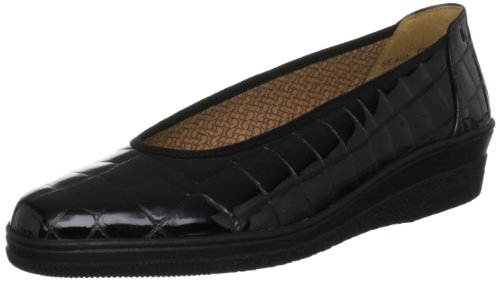 Gabor Piquet Wijdvallende Ballerinas Zwart Croc