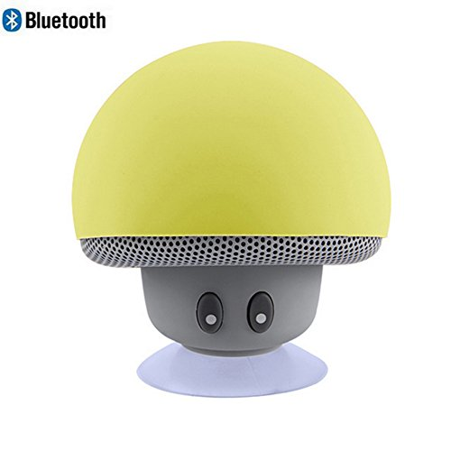 Leacoco Mini Wireless Portable Bluetooth Speakers with Mic and Sucker Portable Small Stereo for iPhone and Android System Equipment Etc. (Yellow)