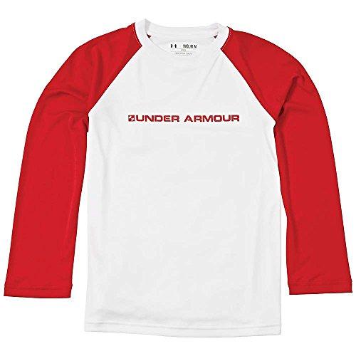 Under Armour Boys' UA Indopass Long Sleeve Top White Rednasty Medium
