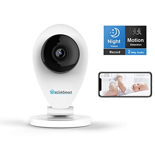 eLinkSmart HD Mini WiFi Camera Baby Monitor for Home Security, Night Vision, Video Recording, Motion and Crying Detection, Cloud Storage