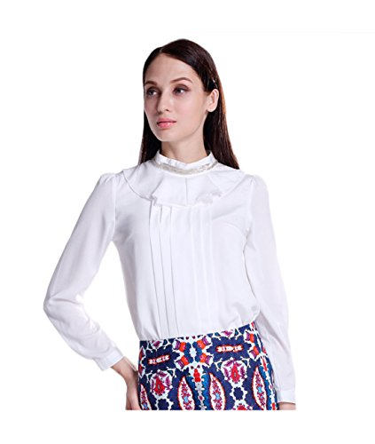 ObeisA Women's Fashion Pretty Elegant Long Sleeve Blouse With Standing Collar Top T-Shirts (Asian-L, White) - Elegant Standing Collar