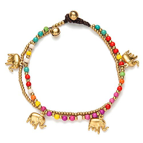 Bohemian Two Layers Alloy Elephant Charm Stone Beaded Chain Anklets for Women Braided Wax Rope Handmade Bell Clasp Anklet for Teen Girls, Boho Ankle Bracelets Foot Jewelry