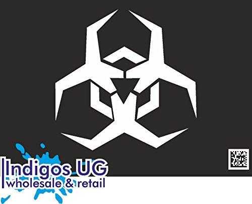 INDIGOS UG - Sticker / Car / Bumper / JDM / Die cut / OEM / Decal - Biohazard Symbol Clipart - 90x90mm white