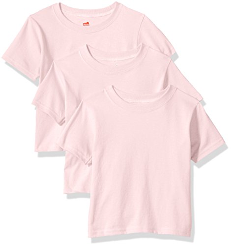 Hanes Toddler Boys' Comfortsoft Tee (Pack of 3), Pale Pink, 4T (Hanes Kids Shirt)