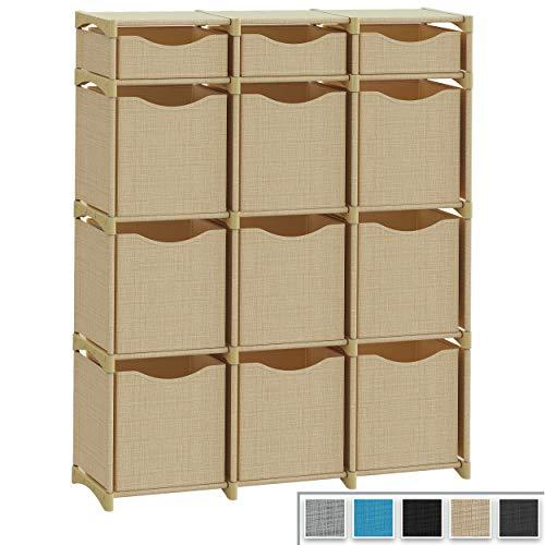 12 Cube Organizer | Set of Storage Cubes Included | DIY Closet Organizer Bins | Cube Organizers and Storage Shelves Unit | Closet Organizer for Bedroom, Playroom, Livingroom, Office, Dorm (Beige)