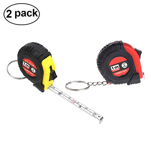 Mini Retractable Ruler Tape Measure Keychain Acrylic Portable Ruler Tape Measure Key Ring 3 ft(2 Pack)
