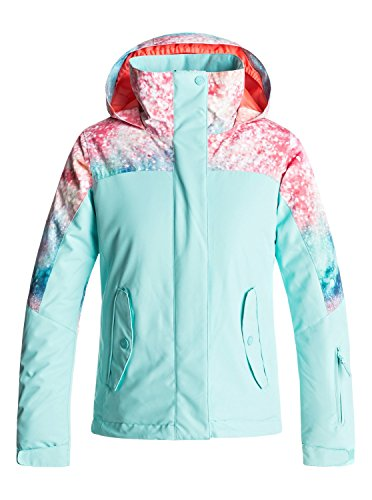 Roxy Big Girls' Jetty Block Snow Jacket, Neon Grapefruit_Solargradient, 14/XL by Roxy