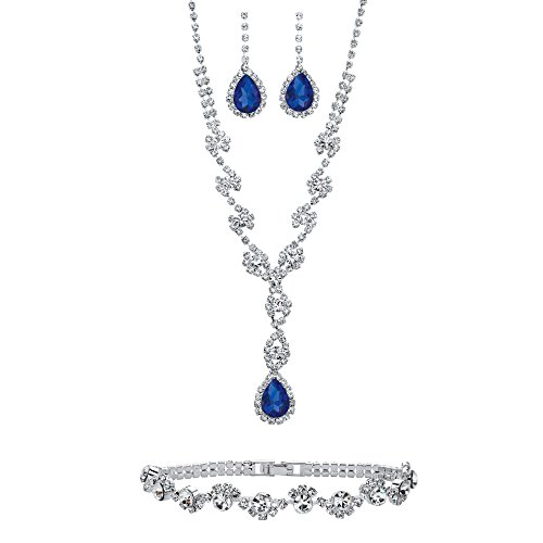 Lux Silvertone Pear Cut Simulated Blue Sapphire and Crystal Halo Drop Earring, Necklace and Bracelet Set, 15 inches Plus 5 inch Extension