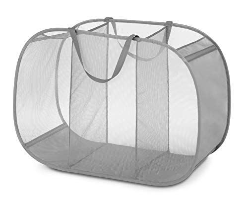 Large Mesh Pop - Whitmor Pop & Fold Laundry Sorter, Paloma Gray