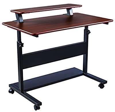 "40"" Height Adjustable Mobile Stand Up Desk, 2-Tier Standing Computer Workstation with Detachable Hutch, Teak"