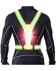 ANCROWN LED reflectante Chaleco de correr, luces de advertencia de alta visibilidad para corredores, accesorios de seguridad elásticos ajustables para hombres y mujeres de noche correr, caminar, ciclismo, ciclismo o ciclismo