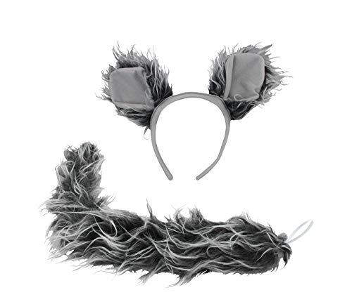 Werewolf Big Bad Wolf Ears Tail Kit Wolfman Grey Costume Set Halloween Accessory ()