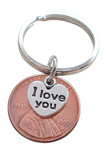 I Love You Heart Charm Layered Over 1997 Penny Keychain, 22 year Anniversary Gift, Couples Keychain (Anniversary 22nd Gift)