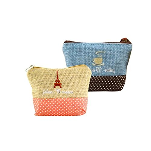 Garrelett Rustic Retro Embroidery Hemp Cotton Zipper Purse Wallet For Women Girls  Mini Storage Pouch Coins Bag Cards Holder For Carrying Phone Bills Cash  2Pcs Beige And Sky Blue
