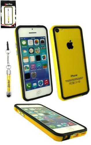 Emartbuy® Sparkling Pack Stylet Pour Apple Iphone 5c Jaune Pétillant Mini Stylet + Protecteur D'Écran Lcd + Gel / Étui / Housse Moulé Massif Housse / De Butoir Jaune / Noir