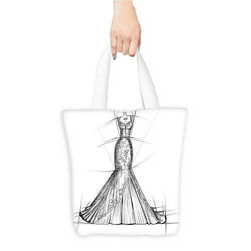 Custom Shoulder Bags Woman Night Dr Stylish Model Wedding Outfit Sketch Print Grey White Birthday Present Gift W16.5 x H14 x D7 INCH