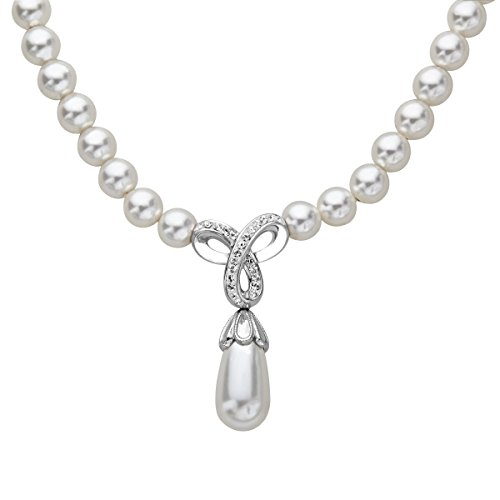 (Crystaluxe Drop Necklace with Swarovski Crystals & Simulated Pearls in Sterling Silver,)