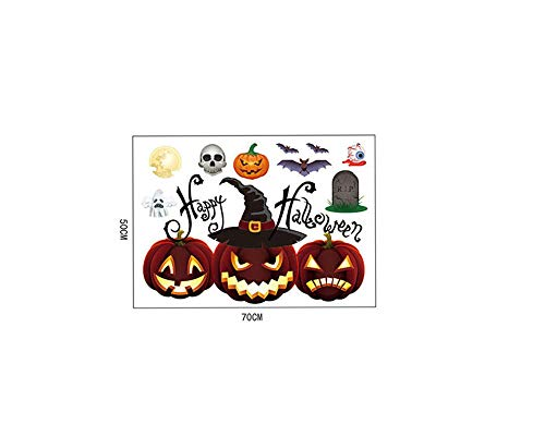 Cywulin Halloween Wall Stickers, Self Adhesive Art Mural Decor Decals Removable Decorating Kit Window Home Decorations (D) -