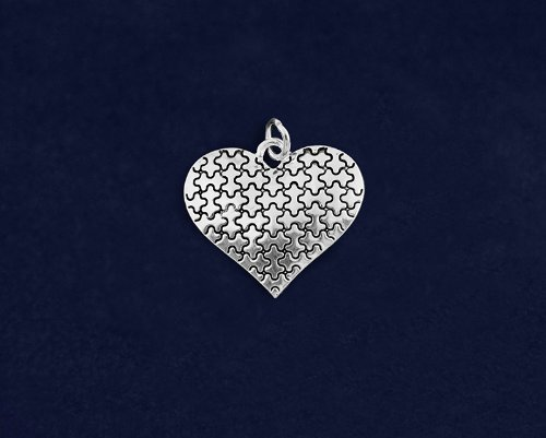 Autism Silver Puzzle Heart Charms (Wholesale Pack - 25 Charms)